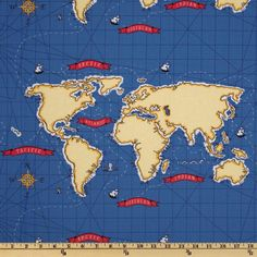 Michael Miller Out To Sea Nautical Map Boy Blue - very cool fabric... must think of a project where I can use it!