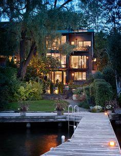 I want this in my dream home RetainingWall Windows StoneSteps OutdoorLighting Exterior Landscape Backyard Dock House Balcony