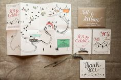 When Goldie and I started planning our wedding, we knew it was going to be casual and intimate, in a rustic, outdoor setting, with a ton of DIY. And knowing that invitations are the first thing people see, we wanted ours to set the tone for the evening. We scoured the market before stumbling upon an artist on Etsy named Pinar, of CuriousMe Designs, based in the U.K.. We were instantly smitten. Pinar offers ready-made wedding stationery or custom designs, all at extremely affordable prices…