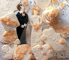 Cookie Cake Topper with Sugar Veil details on dress by Cookieria By Margaret