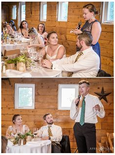 Wedding toasts inside the barn at a rustic Colorado wedding reception at Chatfield Botanic Gardens. - April O'Hare Photography http://www.apriloharephotography.com #ChatfieldBotanicGardens #ColoradoWedding #BarnWedding #FarmWeddingPhoto #OutdoorWeddingReception #DenverWeddingPhotographer #FarmWedding