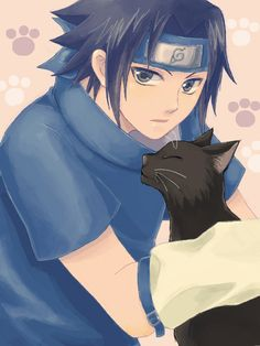 Pixiv Id 4254665, Unauna, NARUTO, Uchiha Sasuke, Black Cat (Animal), Paw Print