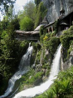 Waterfall WalkwaySt. Beatus Caves, In Switzerland. Reminds me of Rivendale in Lord Of the Rings ;)