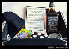 Groomsmen survival box....I like it!  Socks, gummies, alka seltzer, gum, tic tacs, and a few other things. Maybe personalize the box too!