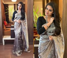 keerthy suresh in sarees 2018 Indian Attire, Indian Outfits, Pretty Dresses, Beautiful Dresses, Saree Gown, Black Saree, Dress Indian Style, Traditional Sarees, Fancy Sarees