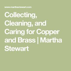 Collecting Cleaning and Caring for Copper and Brass Martha