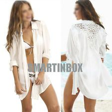 Women's white chiffon Crochet Hollow Beach Bikini Cover Up Cardigan skirt dress