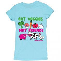 Eat Veggies Not Friends David and Goliath tops. Go vegetarianism!