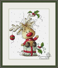 Scheme of cross-stitch Christmas deer .  High quality scheme for embroidery painting.  In our store you can purchase high quality stitch patterns and schemes for embroidery paintings. All our schemes further edited by the artist-designer for your convenience and the best results of your work!  Pattern Details:  Stitches: 79 х 95  34 colors and 6 blends, cross bekstich.  Colours: DMC  Skill Level - Intermediate  PDF Pattern includes:  1. Enlarged Chart of the Design in Color coded symbols…