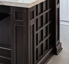 BEAUTIFUL and INNOVATIVE design. DIFFERENT from the usual. Decorative design to inspire a new look for kitchen island front (island base made of natural woods) Kitchen Inspirations, Kitchen Island Ends, Contemporary, Contemporary Kitchen Cabinets, Contemporary Kitchen, Cabinetry, Custom Cabinetry, Innovation Design, Handmade Cabinets