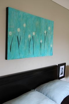 wildflowers on canvas #painting #art #turquoise: