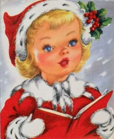 Pretty Singing Girl in Red-Vintage Christmas Card-Greeting Vintage Christmas Images, Old Fashioned Christmas, Christmas Scenes, Christmas Past, Retro Christmas, Vintage Holiday, Christmas Pictures, Christmas Holidays, Christmas Crafts