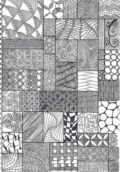 Another one of my zentangle pattern sheets. Pattern both made/adapted by me and collected from other sources. Feel free to use.