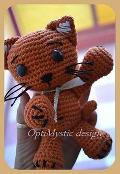 Ravelry: Rusty the cat pattern by OptiMystic by me Crochet For Kids, Crochet Crafts, Crochet Dolls, Crochet Yarn, Yarn Crafts, Amigurumi Doll, Amigurumi Patterns, Crochet Patterns, Loom Patterns