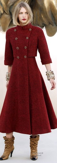 Chanel Fall 2010 Couture.Burgungy Kiss Russian Cossack Style Ready For Those Chilly Autumn Days And Snowy Winter Nights.