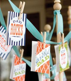 DIY - My Dad Rocks - Father's Day Cards, Bottle Labels, Banner Flag and Cupcake Topper via Phyllis Hoffman Celebrate - Free PDF Printables