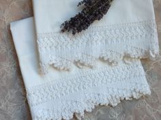 Pair of vintage white cotton pillowcases with hand crocheted edges. Measure x Crocheted edge is 4 inches. Linens And More, Window Shopping, Vintage Crochet, Hope Chest, Pillowcases, Hand Crochet, White Cotton, Lace Shorts, Towels