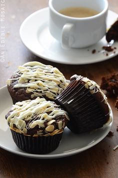 Double Dark Chocolate Muffins with Almonds and White Chocolate Drizzle