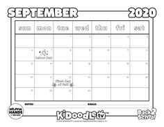 Start #BackToSchool off right with this September calendar that is customizable and made to color in!  #KidoodleTV #SafeStreaming September Calendar, Emergent Readers, Back To School, Homeschool, Goals, Teaching, Recipe, Tv, Kids