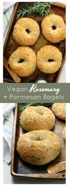 Vegan Rosemary & Parmesan Bagels - Eat. Drink. Shrink. Vegan Foods, Vegan Recipes, Snack Recipes, Bread Recipes, How To Make Bread, Bread Making, Vegan Bread, Bread Food, Vegan Parmesan