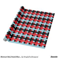 Abstract Red, Pastel Blue and Black Wrapping Paper