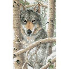 The icy stare of this magnificent wolf is sure to captivate one's attention Work your stitches with cotton thread over X's printed on white sailcloth to create this wintry scene Portions of the forest