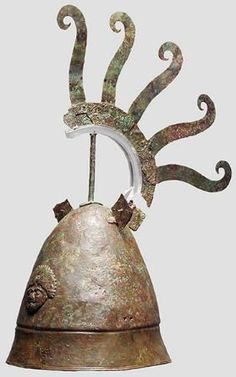 4th/3rd century B.C. A bronze helmet with a rounded, conical bowl and a high, distinctly offset rim. Etruscan
