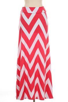 Coral Chevron Print Maxi Skirt