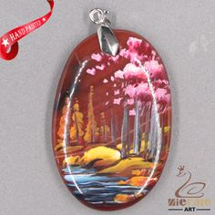 FASHION NECKLACE HAND PAINTED SCENERY GEMSTONE PENDANT BEAD ZL8011617 #ZL #Pendant