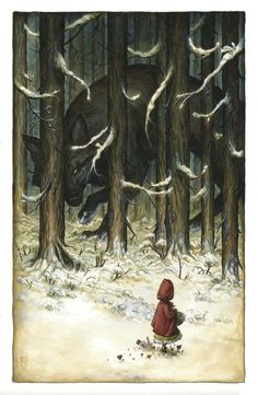 Roberto Ricci's blog -: Le Petit Chaperon Rouge....The blog at this link doesn't really feature illustration that is my taste, but I love this one! I think it was originally posted at The Art of Animation blog.