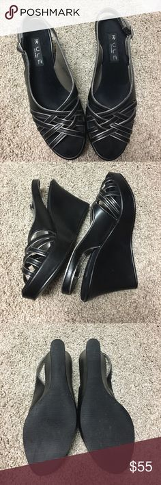 Steve Madden wedges NWOT- Black and silver Steve Madden RULE peep toe wedges. steve madden  Shoes Wedges