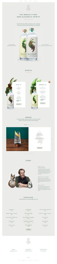 Absolute jaw-dropping design in this One Pager promoting 'Seedlip' - the world's first non-alcoholic spirits. The Single Page website is build into the Shopify framework with a slick off-canvas shopping cart integration. There is so much to love in this site; the whitespace, the stunning product shots (not to mention that branding), the cocktail recipe slider with downloadable PDF and this complementary typography blend of 'Brown' and 'Baskersville' fonts.