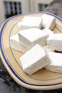Marshmallows ~ 2 envelopes (17g) powdered gelatin or 17g sheet gelatin (8 to 10 sheets), 1/2 C + 1/3 C cold water, 1 C sugar, 1/3 C light corn syrup, 4 large egg whites (1/2 C) at room temperature, pinch of salt, 2 t vanilla extract or 1 t vanilla paste, 1 C corn starch (or potato starch) + 1 C powdered sugar (for dusting). ~ 25-50 marshmallows.
