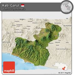 Free Satellite 3D Map of Kab. Garut, shaded relief outside