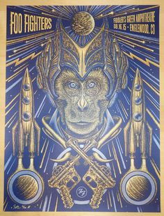"Foo Fighters - silkscreen concert poster (click image for more detail) Artist: Todd Slater Venue: Fiddlers Green Amphitheatre Location: Englewood, CO Concert Date: 8/16/2015 Size: 18"" x 24"" Edition: A"