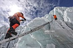 Mountaineers climbing up the Khumbu Icefall on the route up Everest.
