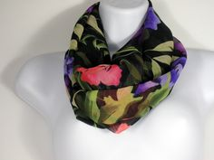 Spring Scarves Floral Fashion Scarves Summer Scarves Black Purple Green Infinity Scarf Chiffon Infinity Scarves Womens Scarves Circle Scarf by LooptheLoop on Etsy