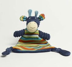 Jiggle and Giggle Stripe Giraffe Knit Blankie Navy Embroidered Towels, Giraffe, Dinosaur Stuffed Animal, Teddy Bear, Navy, Knitting, Toys, Animals, Hale Navy