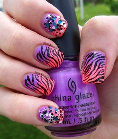 #zebraprint #nails #neon #glitter  facebook @ GAME N GLOSS