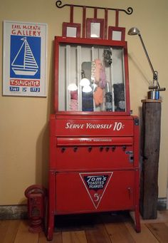 "Vintage ""Tom's Toasted Peanuts"" vending machine...""Serve Yourself 10 cents"""