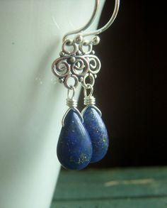 Lapis Lazuli Earrings on Sterling  Wirewrapped by beadstylin