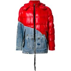 Moncler X Greg Lauren denim panel padded jacket ($4,366) ❤ liked on Polyvore featuring men's fashion, men's clothing, men's outerwear, men's jackets, red, mens denim jacket, mens red jacket, mens red denim jacket and mens padded jacket