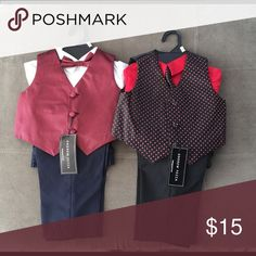 Little suit set Bundle of two NWT 3 piece suits for a dapper little fella! Size 12 month and 18 month! The one on the left is red and Black and the one on the right is red and navy! Andrew Fezza Matching Sets