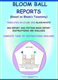 Updated version of Bloom Ball reports! Fun, colorful hands on projects.Templates in two sizes and in color and black/white. Two student report forms included. Fiction book report and Bio report. Can be used for any subject. Complete instructions are included. These make a great class display! priced item