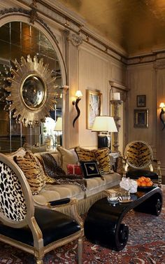 Eclectic old Hollywood glamour. Love the animal prints! Image from Laura Lee Interiors
