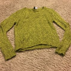 **X small crop green sweater Gently worn, great condition H&M Sweaters Crew & Scoop Necks