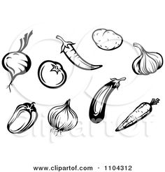 Clipart Black And White Vegetables A Beet Or Onion Tomato Peppers Garlic Carrot Potato And Eggplant - Royalty Free Vector Illustration by Se...