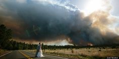 Wild fire threatens couples wedding day... but makes for some beautiful photos