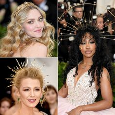 Nothing is more divine than a golden crown and these ladies did not disapoint! From Amanda Seyfried's dainty celestial crown to Blake Lively and SZA's actual halos, these head pieces are nothing short of angelic. Blake Lively, Headdress, Headpiece, Outfits Dress, Dresses, Celestial Wedding, Golden Crown, Diy Crown, Goddess Costume