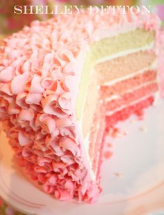 beautiful frilly cake with a pink gradation within the cake layers - must try!